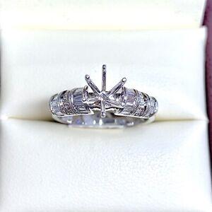 0.76 ct Diamond Semi Mount Engagement Ring in 18k White Gold