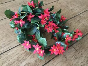 Vintage Christmas Flowers Red Poinsettia Artificial Flowers
