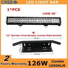 20inch 126W Led Light Bar+23'' Bull Bar Front Bumper License Plate Mount Bracket