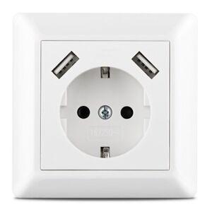 230 V Schutzkontakt Steckdose mit 2 x USB Ladegerät passend für Jung AS 500 Weiß