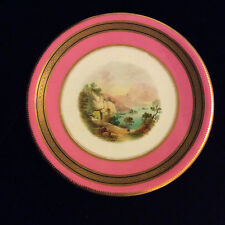 Antique 19c Coalport/ Minton Pink Topographical Low Comport Tazza