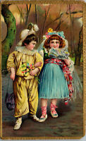 Two young girls embossed gold trim 1909 Vintage Postcard AA-004