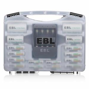 EBL AA AAA Rechargeable Batteries with Charger Set, 8 X AA Batteries, 4 X AAA