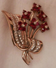 "Coro gold tone spray of ruby red flowers rhinestones pin brooch 1940s 2"" long"