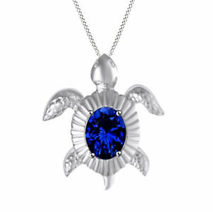 Sapphire Turtle Pendant 14k White Gold Over Sterling Silver .925 Sterling Silver