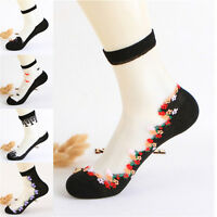 Women Girls Lace Crystal Glass Silk Short Thin Transparent Roses Flower Socks NT