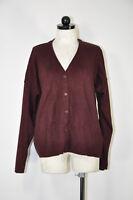 Eileen Fisher Maroon Cotton V Neck Boyfriend Oversized Cardigan Sweater Women M