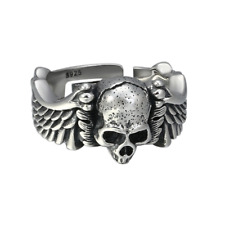 925 STERLING SILVER JEWELRY TREND VERSATILE SKULL RING MEN OPENING RING