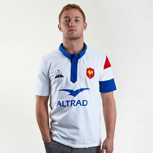 Le Coq Sportif Mens France 2018/19 Alternate Short Sleeve Rugby Shirt White