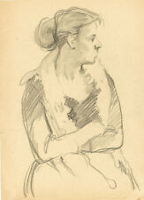 WOMAN SITS WITH ARMS CROSSED pencil drawing by Soviet artist Leonid Bugai