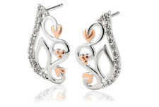 NEW Welsh Clogau Silver & Rose Gold Masque White Topaz Stud Earrings £55 off!