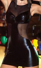Latex Look Sexy Black Dress With See Through Mesh Dress Party Clubbing