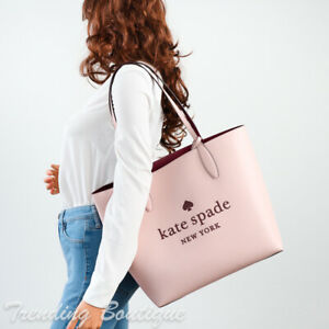 NWT Kate Spade New York Glitter On Leather Tote in Rose Smoke