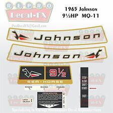 1965 Johnson 9½HP MQ-11 Sea Horse Outboard Reproduction 8 Pc Vinyl Decals 9.5