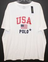 Polo Ralph Lauren Big and Tall Mens White USA Crewneck T-Shirt NWT Size 1XB