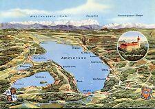 Alte Postkarte - Der Ammersee mit Kloster Andechs gegen die Alpen