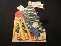 #929🌟Vintage 1952 Children's Christmas Card BEARS In BATHROBES Decorate TREE!