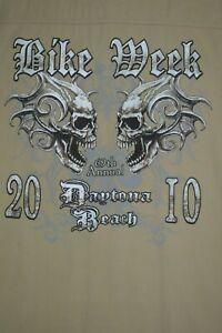 Biker's Club 2010 Daytona Beach Bike Week Tan Cotton Vest Men's Size 2XL XXL