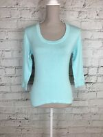 Womens ARAMANTO Blue 3/4 Sleeve Thin Knit Round Neck Jumper Size 10