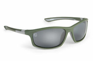 FOX NEW Polarized Green & Silver Sunglasses Carp Fishing - With Case - CSN044