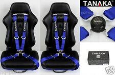X 2 TANAKA UNIVERSAL BLUE 4 POINT CAMLOCK QUICK RELEASE RACING SEAT BELT HARNESS