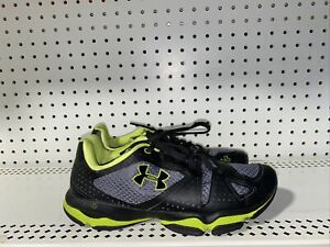Under Armour Micro G Quick 2 Mens Athletic Running Shoes Size 8 Gray Neon Black
