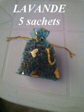 5 sachets de lavande séchée en organza turquois motif coeur 100% bio pot pourri