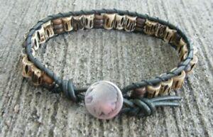 New! Ltd Edition Men's Army Green Indian Bracelet w/ carved Buffalo Bone