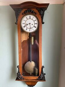Antique Double Weighted Walnut Vienna Clock by LENZKIRCH for restoration