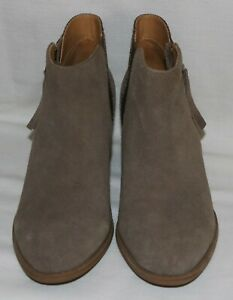 Vionic 322 Anne Suede & Snake Skin Women's Zipper Ankle Boots Size 7.5 Taupe LN