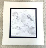 Original Zeichnung Leben Sketch Herren Im Gespräch Michael Fell Royal Academy