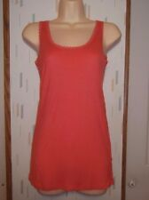 The Rag Story Woman's M Coral Orange Lightweight Rayon Knit Top Tank Sleeveless