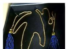 Lapis Lazuli Tassel Wrap Necklace with yellow gold plated cord - as seen on TVSN