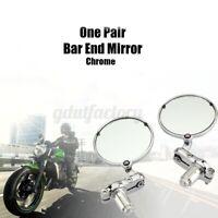 2x 7/8'' 22mm Motorcycle Bar End Mirrors Silver For Honda Kawasaki Suzuki Yamaha