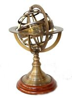 """Brass 9"""" armillary spin spher globe nautical antique vintage decorwith wood base"""