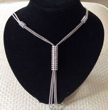 Crystal and Silver Strand Necklace