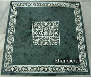 48 Inch Green Marble Meeting Table Top Inlay Dinning Table with Mother of Pearl
