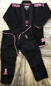 FUJI Sekai W0 BJJ Gi Jiu Jitsu Kimono Set Black Rip Stop