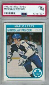 1982 OPC hockey card #321 Miroslav Frycer, Toronto Maple Leafs graded PSA 7