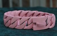 *SPECIAL OFFER* Stainless steel flat link large dog collar 32mm wide. PINK!