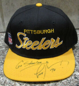 RARE LEON SEARCY AUTO SIGNED 100% WOOL CAP PITTSBURGH STEELERS SIZE 7 3/8