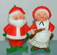 Vintage Santa Claus and Mrs. Claus Christmas Tree Ornaments Holiday Decorations