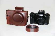 Coffee camera leather case bag cover for Canon Powershot G5 X G5X dark brown