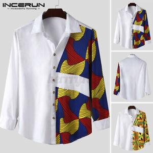 Men's African Dashiki Tops Long Sleeve Floral Shirt Formal Kaftan T Shirt Blouse