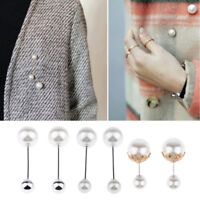 6Pcs Lady Faux Pearls Lapel Pin Brooch Suits Boutonniere Stick Pins Corsage