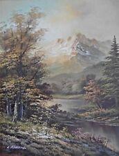 Grande con Cornice Olio su Pannello Pittura a Foresta Montagna Scena Firmato L
