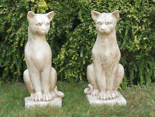 Katze sitzend Steinfigur gross Frostfest Gartenfigur Deko Steinguss