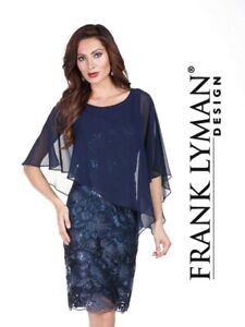 Frank Lyman Midnight dress With Chiffon Overlay 176161 size 16 RRP £245