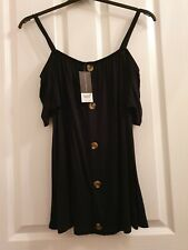 Bnwt Dorothy Perkins Black Button Detail Cold Shoulder Top Size 14