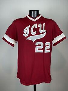 Men's Vintage Sand Knit ICU Red Short-Sleeve Baseball Jersey #22 Large